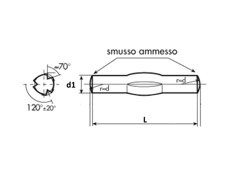 Spina Piena C/Intagli Longitud DIN 1471