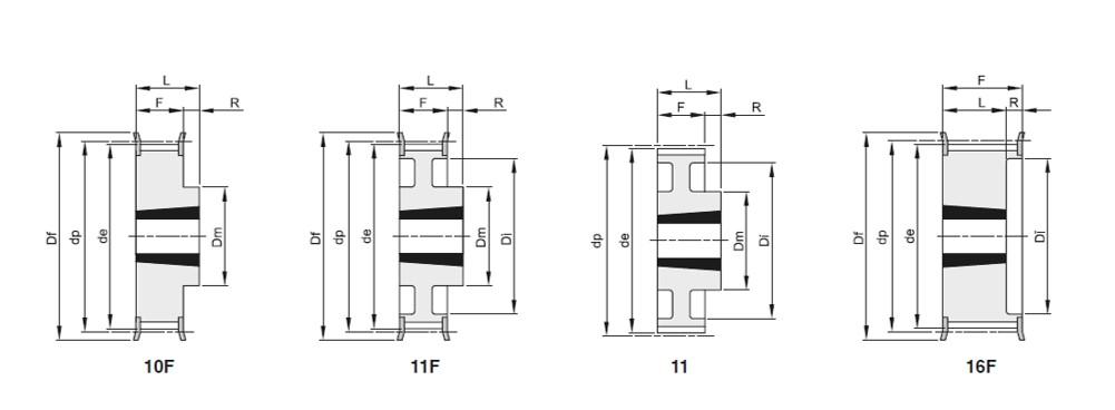 Pulegge passo 8mm per cinghie largh 20mm