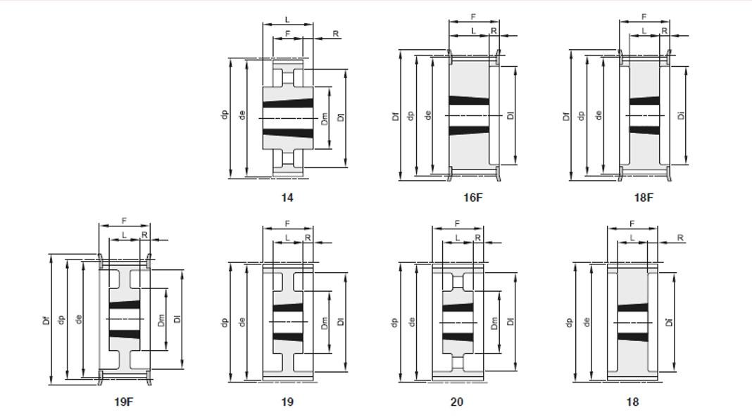 Pulegge passo 8mm per cinghie largh 50mm