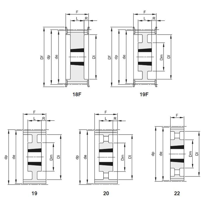 Pulegge passo 14mm per cingh larg 85mm