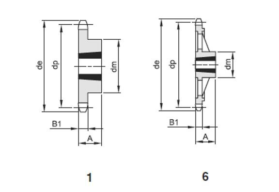 Pignoni sempl x bussola conica 3/8x7/32