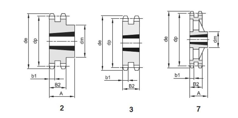 Pignoni doppi x bussola conica 3/4x7/16