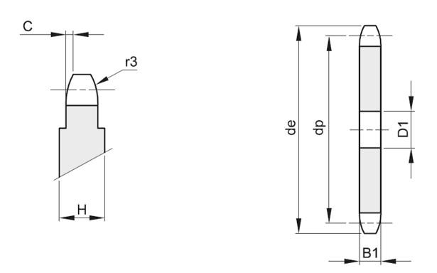 Corone semplici per catene a rulli